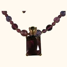 Long Purple Bead Necklace/Pendant Joan Rivers