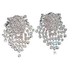 Kenneth J Lane KJL Sparkling Articulating Clear Rhinestones Pierced Earrings