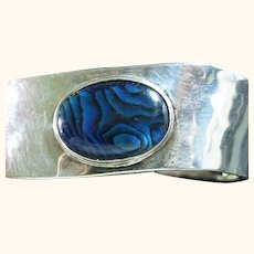 Mexican 925 Sterling Silver & Abalone Wavy Cuff Bracelet