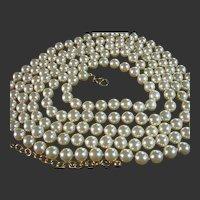 "Necklace Vintage Joan Rivers 76"" Long 8.5mm Faux Pearls Bridal"