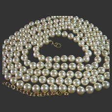 "Necklace Vintage Joan Rivers 76"" Long 8.5mm Faux Pearls Bridal"