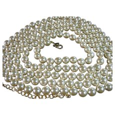 "Vintage Joan Rivers 76"" Long Strand 8.5mm Faux Pearls Bridal"
