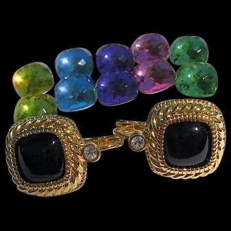 Joan Rivers 6 Interchangeable Colors Pierced Earrings Gold Tone