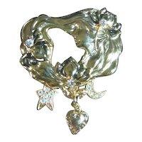 Kirks Folly Art Nouveau Style Lady Dangles Brooch/Pin