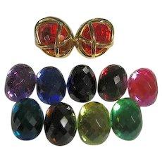 Joan Rivers 10 Color Change Pierced Earrings