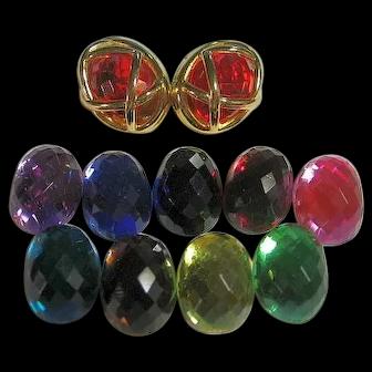 Joan Rivers 10 Colors Interchangeable Pierced Earrings