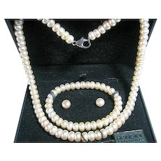 Honora Button Freshwater Pearl Necklace, Bracelet, Earrings Set Bridal
