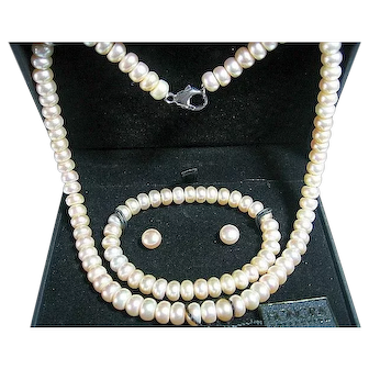 Honora Button Freshwater Pearl Necklace, Bracelet, Earrings Set Bridal
