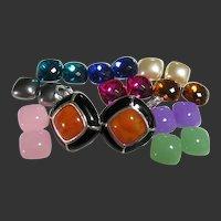 Joan Rivers Earrings 10 Changes Black & Silver Tone Clip-Ons