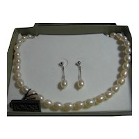 Honora Freshwater Cultured Pearls Necklace & Pierced Earrings Set Bride