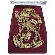 Jackie Kennedy Paper Clip Gold Tone Long Duo Necklace
