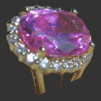 Jacqueline B. Kennedy Jackie Kennedy Ring Faux Pink Sapphire & Gold Tone 6.5