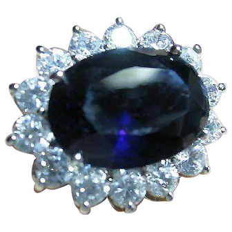 Kenneth J. Lane KJL Simulated Big Blue Sapphire & Clear Crystals Ring