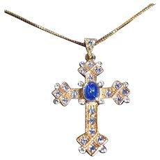 Gorgeous Camrose & Kross Jackie Kennedy Blue Cross Pendant Box/Certificate