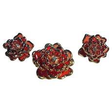 Fall Joan Rivers Flower Brooch/Pin & Clips Earrings Set