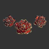 Gorgeous Joan Rivers Floral Orange Brooch/Pin & Clips Earrings Set