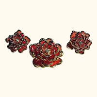 Gorgeous Joan Rivers Floral Orange Brooch/Pin & Clips Earrings Set