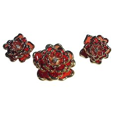 Orange Joan Rivers Flower Brooch/Pin & Clips Earrings Set