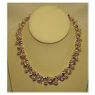 Napier Signed Vintage Faux Pearl & Leaf Gold Tone Necklace Dressy Bridal