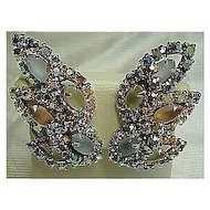 Clip-Ons Earrings Rainbow Aurora Borealis Layered Rhinestone & Frosted Marquises