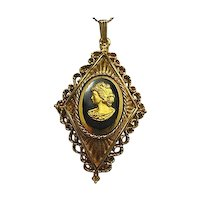 Black/Gold Glass Cameo Lacy Ornate Gold Tone Pendant/Necklace