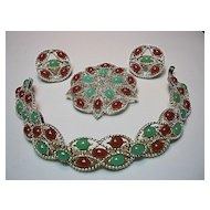 Sarah Coventry Acapulco Colorful Red/Green Brooch, Bracelet & Earrings Gold Tone Set