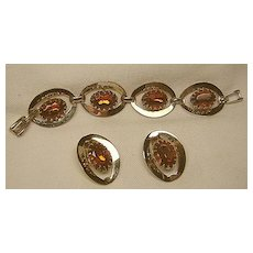Vintage Showy Bracelet & Earrings Cognac/Topaz Set Gold Tone