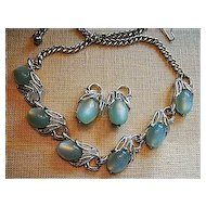 Set Vintage Blue Moonglow & Silver Tone Necklace & Earrings