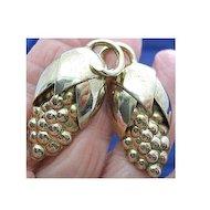Vintage Older Napier Sterling Silver 925 Grapes Clip on Earrings