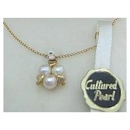 Cultured Pearls & Hearts Vintage Pendant/Necklace In Box