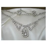 Vintage 1950's  Signed Leo Glass Fine Rhinestone Necklace/Earrings Bridal Silver Tone Set