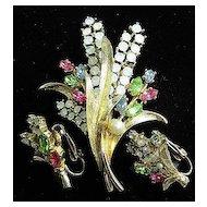 Signed Art Flower Brooch & Earrings Rhinestones & Opalescence Demi-Parure SET