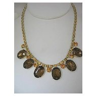 Vintage Dressy Necklace Citrine Rhinestone/Faux Topaz Oval Drop