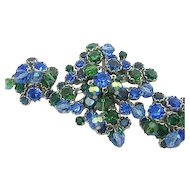 Vintage Signed Kramer NY Set Brooch/Pin & Earrings Blue-Green Rhinestones