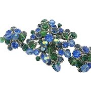 Vintage Signed Kramer NY Set Brooch/Pin & Earrings Blue-Green Rhinestones