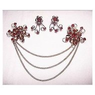 Vintage  Gold Filled Red Faux Garnet Flower Chatelaine & Earrings SET