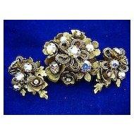Vintage Signed Kramer SET Antiqued Brooch/Pin & Earrings Gold Tone Aurora Borealis