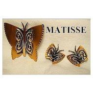 Designer Signed Matisse Renoir Copper Butterfly Brooch & Clips SET