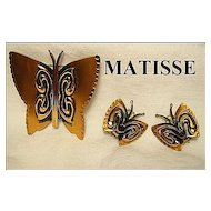 Designer Signed Matisse Renoir Copper Butterfly Brooch & Clips SET