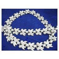 Vintage Silver Tone Leaves/Berries Necklace & Bracelet Set