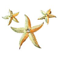 Signed Weiss Vintage Enamel Rhinestone Starfish Brooch/Pin & Earrings Set