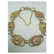 Vintage Pink/Yellow 12kt Gold Filled Repousse Floral Bracelet