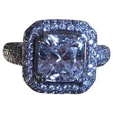 VS2 Estate Vintage 3.12 Ct Diamond Halo Cushion Cut Engagement Ring