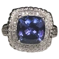Gorgeous 4.46CT Old Miners Cut Tanzanite Ring in 14k White Gold