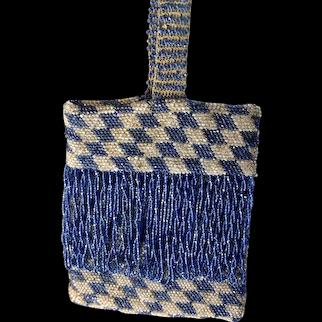 Flapper Long Fringe Vintage Blue & White Glass Beaded Purse Original Lining