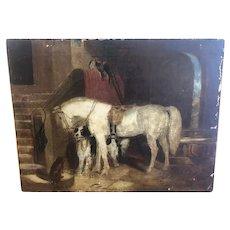 Original Barn Scene George  Moreland (1763 - 1804) Oil Painting on Canvas Signed