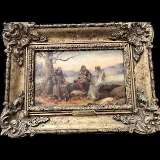 A. Bernasgoni  1885 Antique Original Oil on Wood Board