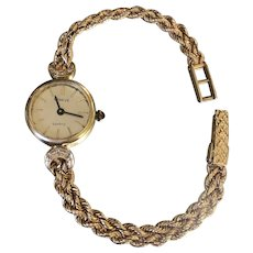 Beautiful Vintage Geneve Solid 14k Gold Women's Watch with Tiny Diamonds