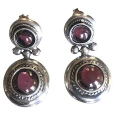 """Gorgeous! Large Sterling Silver Round Garnet Earrings  1 1/8"""" long from Greece"""