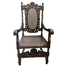 Carved Mahogany Italian Renaissance High Back Throne Chair with Cherubs or Angels.